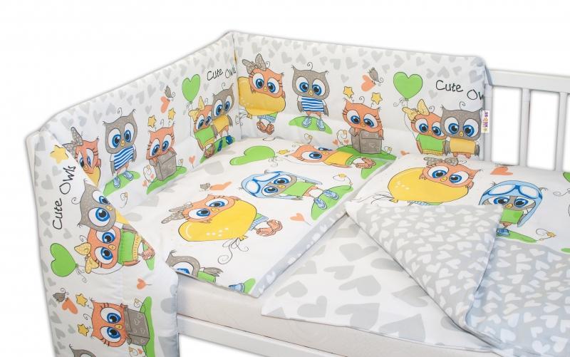 Baby Nellys 3-dílná sada mantinel s povlečením 135x100, Cute Owls - šedá