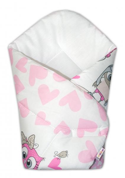 Baby Nellys  Novorozenecká zavinovačka Cute Owls - růžová
