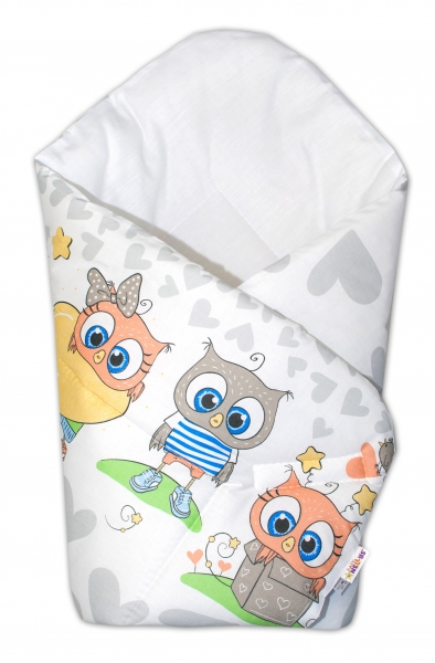 Novorozenecká zavinovačka Cute Owls - šedá
