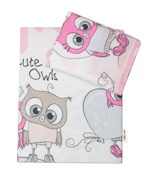 Baby Nellys 2-dílné bavlněné povlečení Cute Owls - růžové