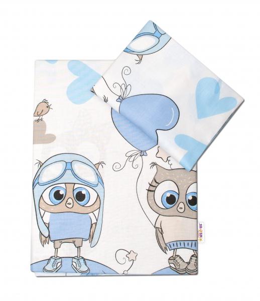 2-dílné bavlněné povlečení 135x100 cm, Cute Owls - modré