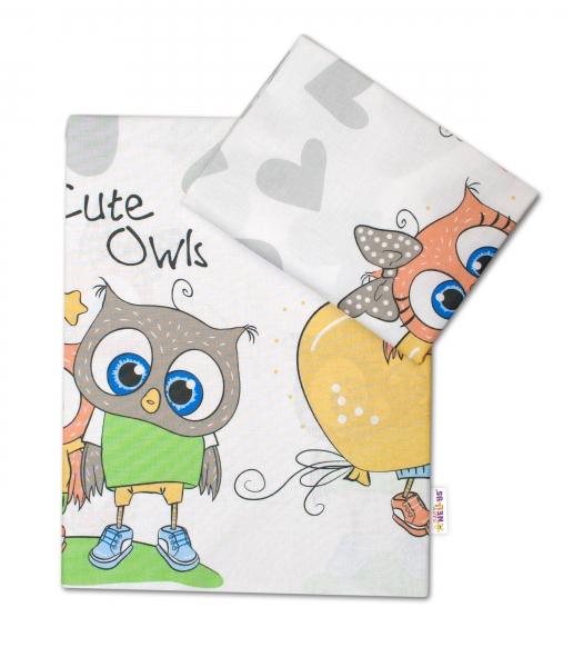 Baby Nellys 2-dílné bavlněné povlečení 135x100 cm, Cute Owls - šedé