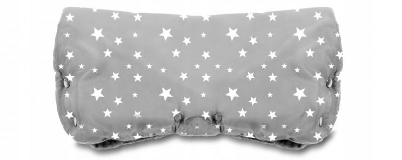 Rukávník ke kočárku fleece - šedý s hvězdičkami