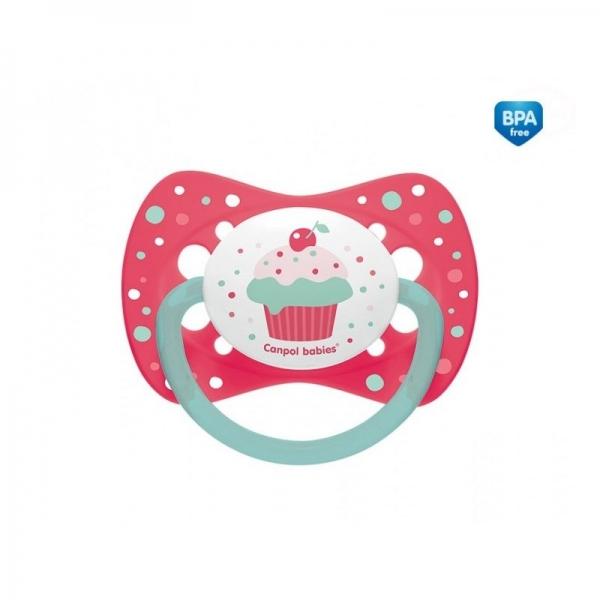 Dudlík symetrický Cupcake 6-18m B - růžový
