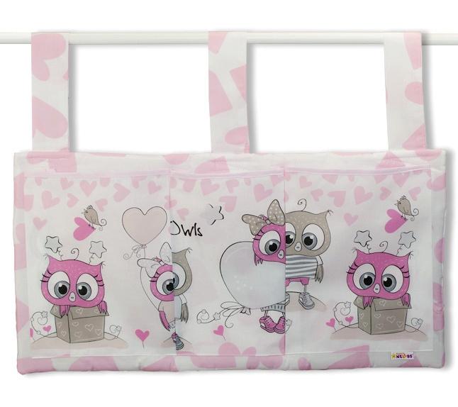 Kapsář na postýlku 3 kapsy - Cute Owls - růžový