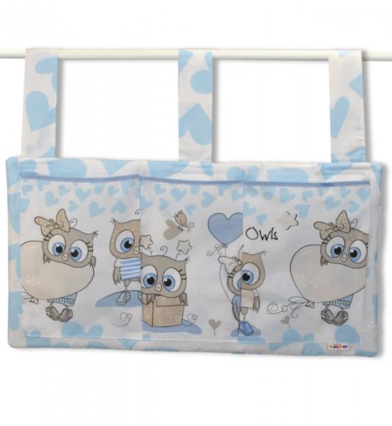 Kapsář na postýlku 3 kapsy - Cute Owls - modrý