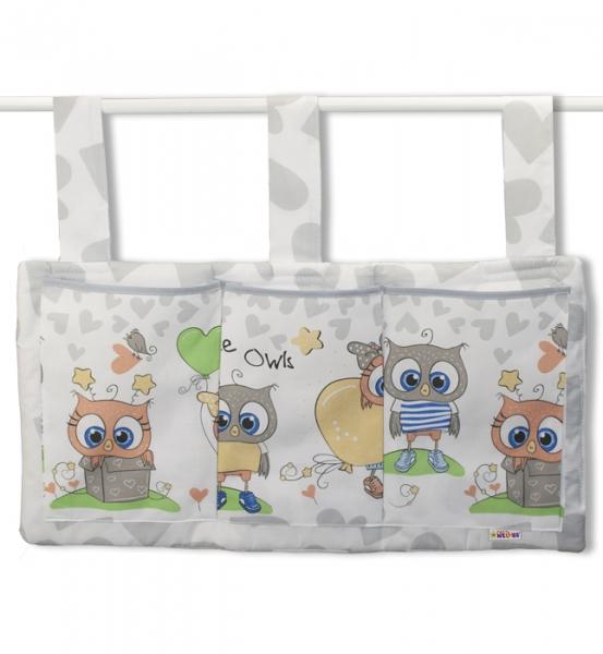 Baby Nellys  Kapsář na postýlku 3 kapsy - Cute Owls - šedý