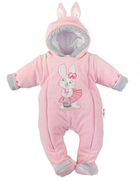 Kojenecký oteplený overálek/kombinéza s oušky, vel. 62 - Little Bunny, sv. růžový