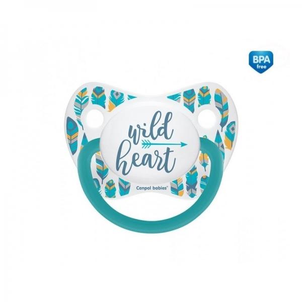 Dudlík anatomický Wild Heart 6-18 m B  - tyrkysový