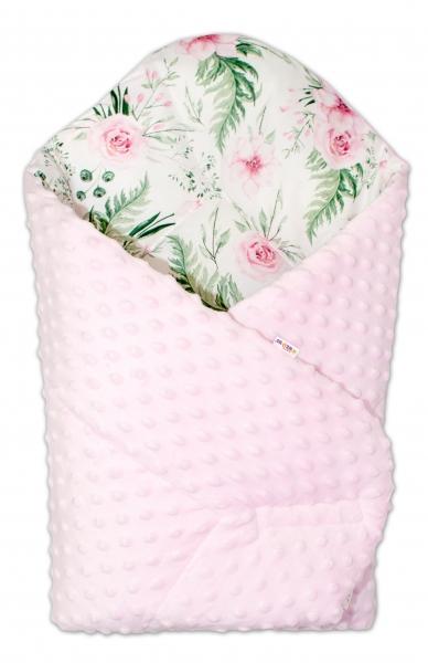 Baby Nellys  Oboustranná rychlozavinovačka 75x75cm s minky Květinky - růžová