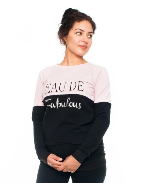 Be MaaMaa Těhotenské a kojící triko/mikina Fabulous, dlouhý rukáv, černo-růžová, vel. L
