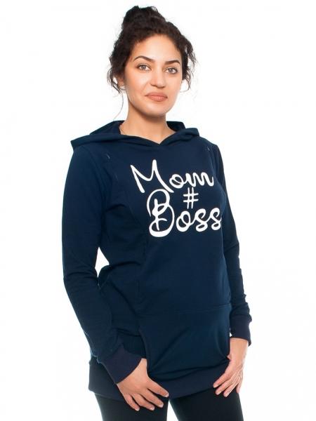 Be MaaMaa Těhotenské a kojící triko/mikina Mom Boss, dl. rukáv, granát, vel. XL, Velikost: XL (42)