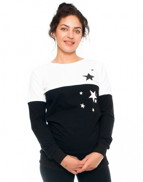 Be MaaMaa Těhotenské a kojící triko/mikina Stars, dlouhý rukáv, černo-bílá, vel. Mvel. M (38)