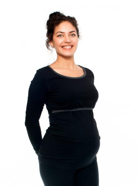 Be MaaMaa Těhotenské a kojící triko Aldona, dlouhý rukáv, černé, vel. XL