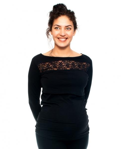 Těhotenské/kojící triko s krajkou, dlouhý rukáv, černé, vel. S