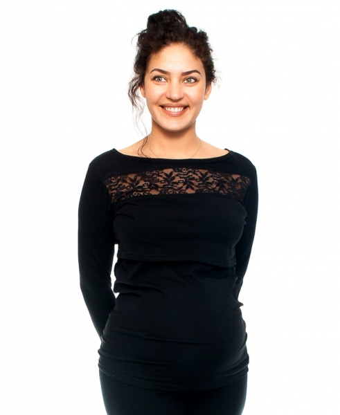 Těhotenské/kojící triko s krajkou, dlouhý rukáv, černé, vel. M