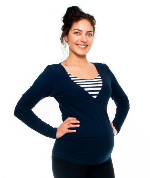 Be MaaMaa Těhotenské/kojící triko - proužek , dlouhý rukáv, granátové, vel. L, Velikost: L (40)