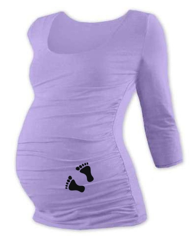 Těhotenské triko 3/4 rukáv s nožičkami, vel. M/L  - levandulové