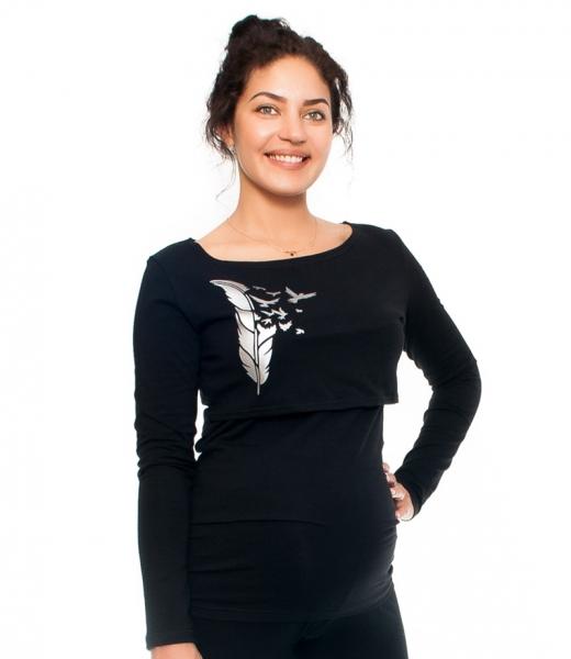 Be MaaMaa Těhotenské/kojící triko - pírka , dlouhý rukáv, černé, vel. XL