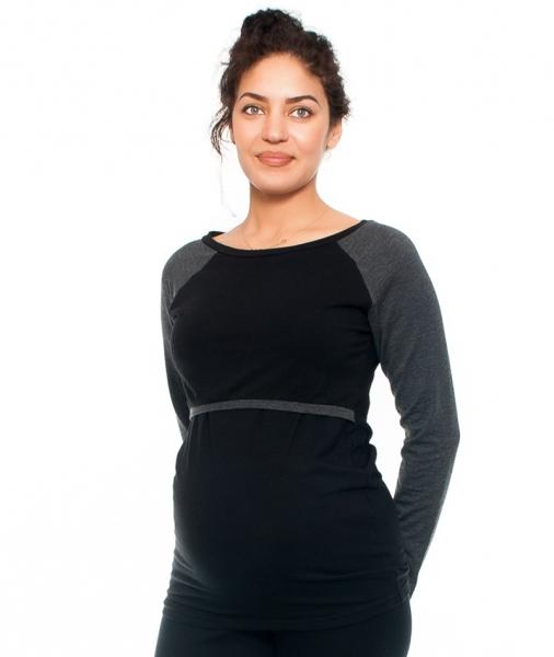 Be MaaMaa Těhotenské/kojící triko Viva , dlouhý rukáv, černé/grafit, vel. XL