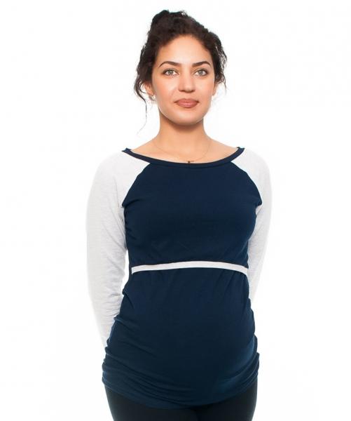 Be MaaMaa Těhotenské/kojící triko Viva , dlouhý rukáv, granát/sv. šedé, vel. XL, Velikost: XL (42)