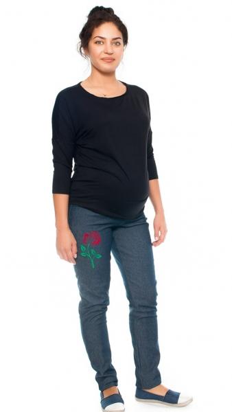Be MaaMaa Těhotenské kalhoty/jeans s potiskem růže, granátové
