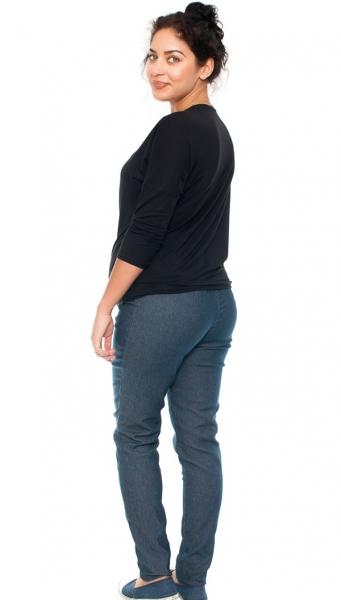 Be MaaMaa Těhotenské kalhoty/jeans s potiskem růže, granátové, vel. M