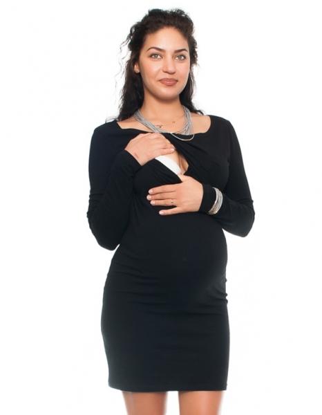 Be MaaMaa Elegantní těhotenské a kojící šaty Aszka - černé