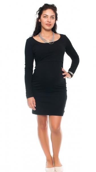 Be MaaMaa Elegantní těhotenské a kojící šaty Aszka - černé, vel. L