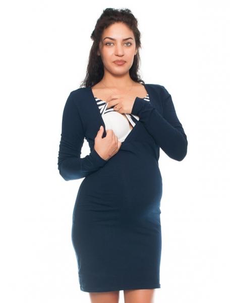 Be MaaMaa Elegantní těhotenské a kojící šaty Alina - granát-bílé, vel. XL