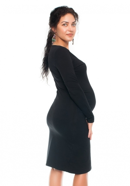 Be MaaMaa Bavlněné  těhotenské a kojící šaty s potiskem květin  - černé, vel. L