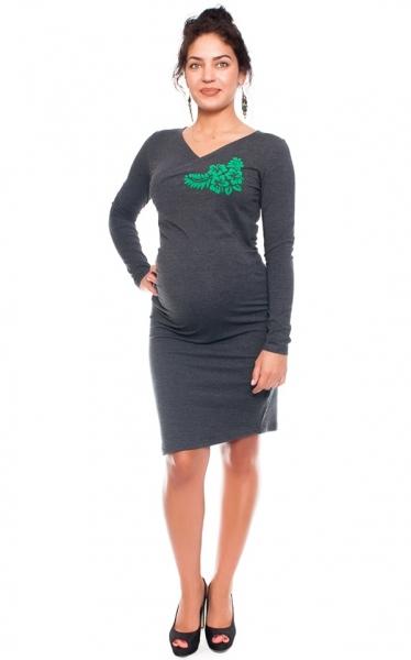 Be MaaMaa Bavlněné  těhotenské a kojící šaty s potiskem květin  - grafit