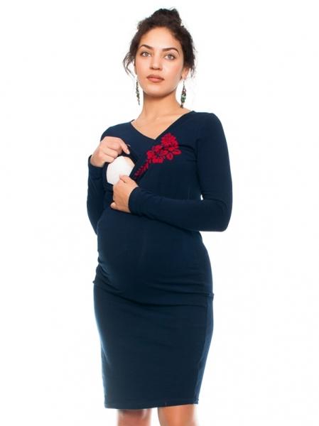Be MaaMaa Bavlněné  těhotenské a kojící šaty s potiskem květin  - granát, vel. S