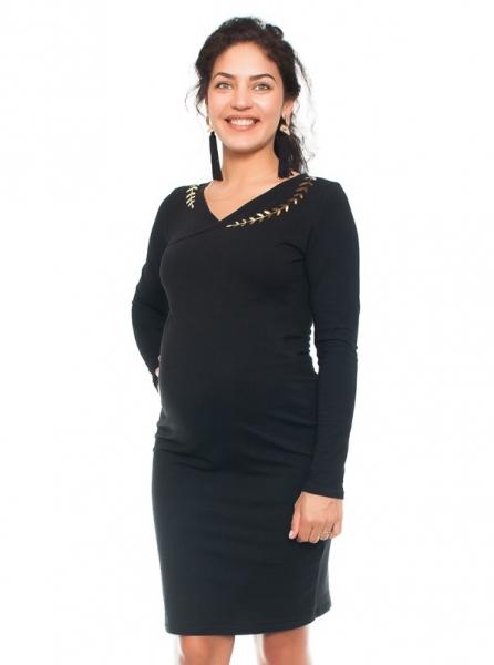 Be MaaMaa Elegantní těhotenské a kojící šaty s výšivkou  - černé