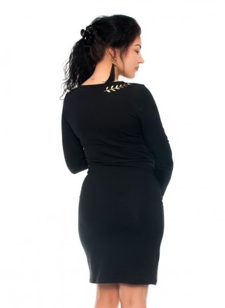 Be MaaMaa Elegantní těhotenské a kojící šaty s výšivkou  - černé, vel. M