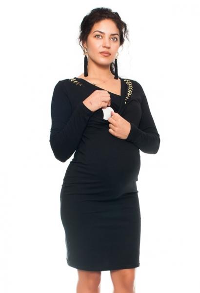 Be MaaMaa Elegantní těhotenské a kojící šaty s výšivkou  - černé, vel. XL