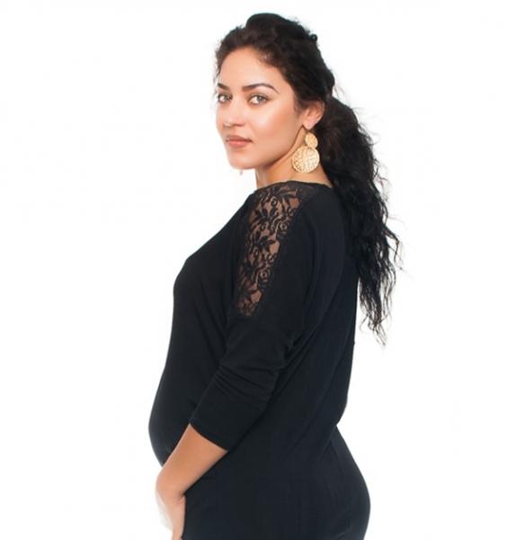 Be MaaMaa Elegantní těhotenské šaty s krajkou - černé