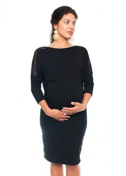 Be MaaMaa Elegantní těhotenské šaty s krajkou - černé, vel. Mvel. M (38)