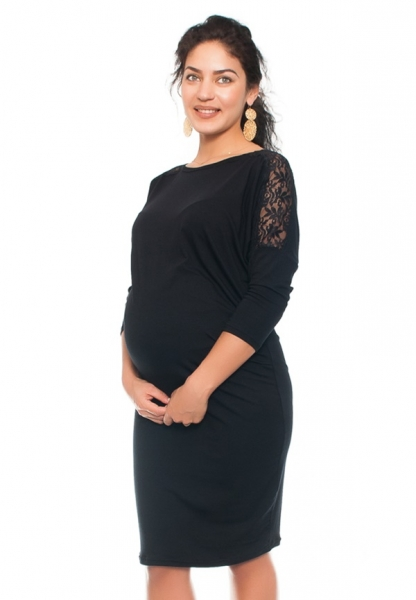 Be MaaMaa Elegantní těhotenské šaty s krajkou - černé, vel. M