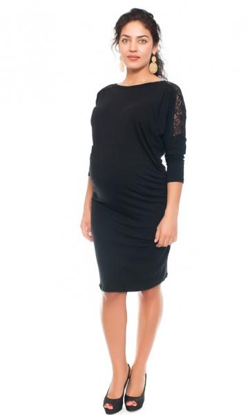 Be MaaMaa Elegantní těhotenské šaty s krajkou - černé, vel. L