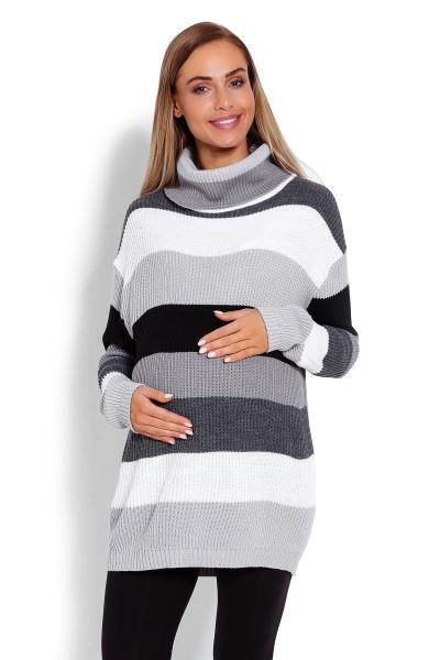 Delší, proužkovaný těhotenský svetřík , rolák - šedé pruhy, Velikost: UNI