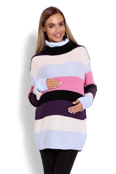 Be MaaMaa Delší, proužkovaný těhotenský svetřík , rolák - barevné pruhy