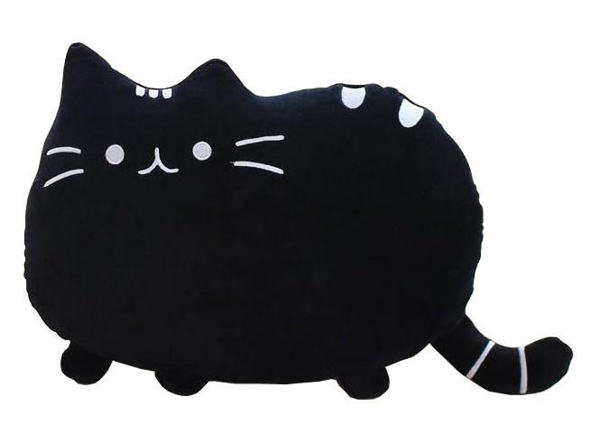 Plyšová kočka - dekorační polštářek 30x40cm, černý