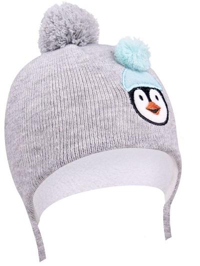 Zimní čepička YO ! na zavazování Pingwin - šedá