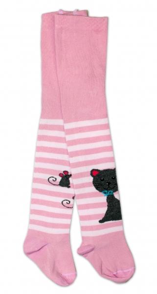 Baby Nellys Bavlněné punčocháče - Cat růžové/ proužky, vel. 104/110vel. 104/110