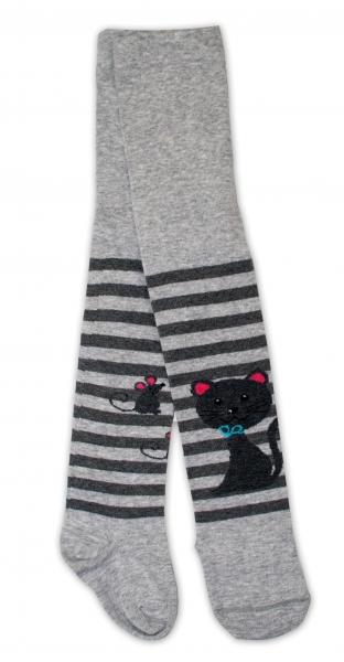 Bavlněné punčocháče - Cat šedé/ proužky