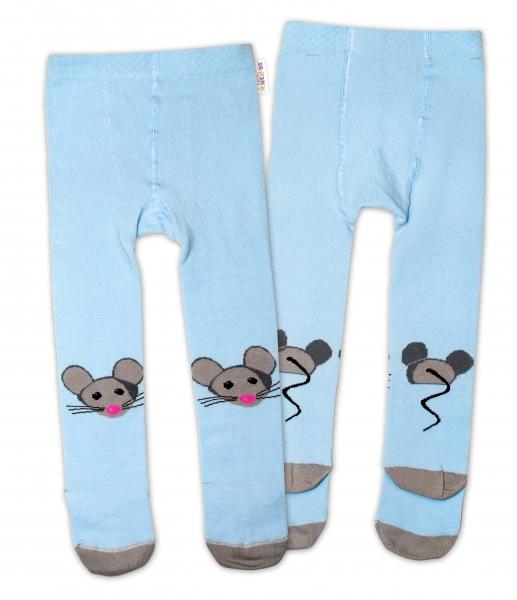 Bavlněné punčocháče - Myška modrá