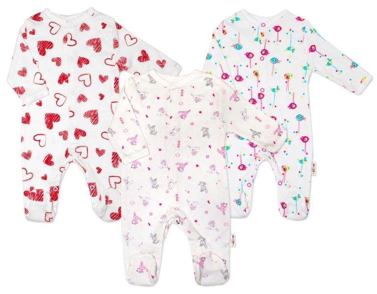 Výhodné balení 3ks - kojenecký overál - holčička, Velikost: 56 (1-2m)