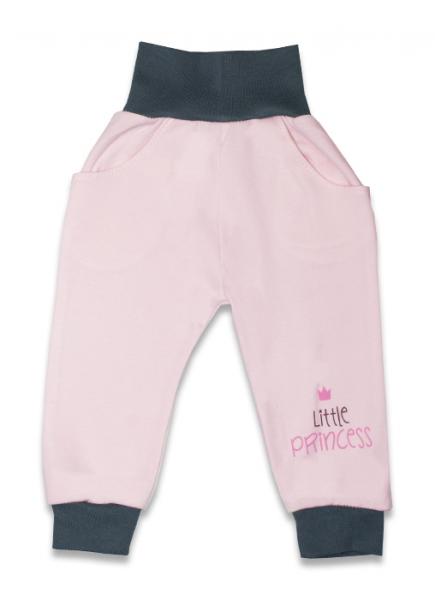 Bavlněné tepláčky, Malá princezna - růžové, vel. 68vel. 68 (4-6m)