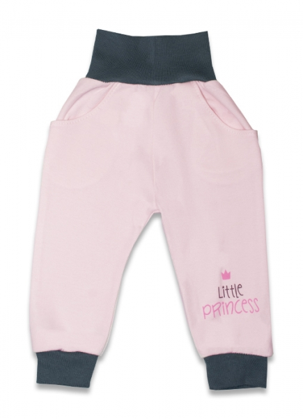 Bavlněné tepláčky, Malá princezna - růžové, vel. 68